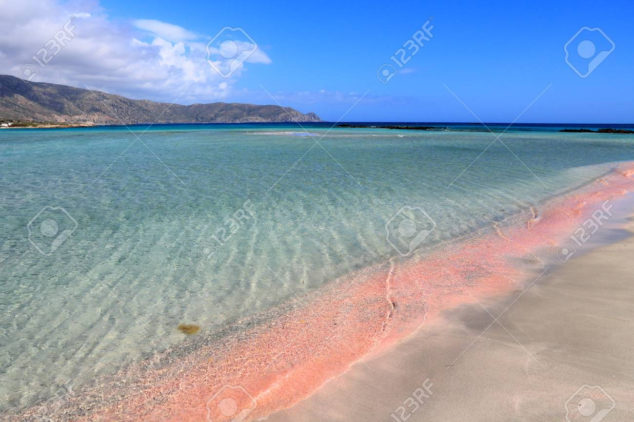 Pink Sand Beach Of Elafonisi Crete Island Greece