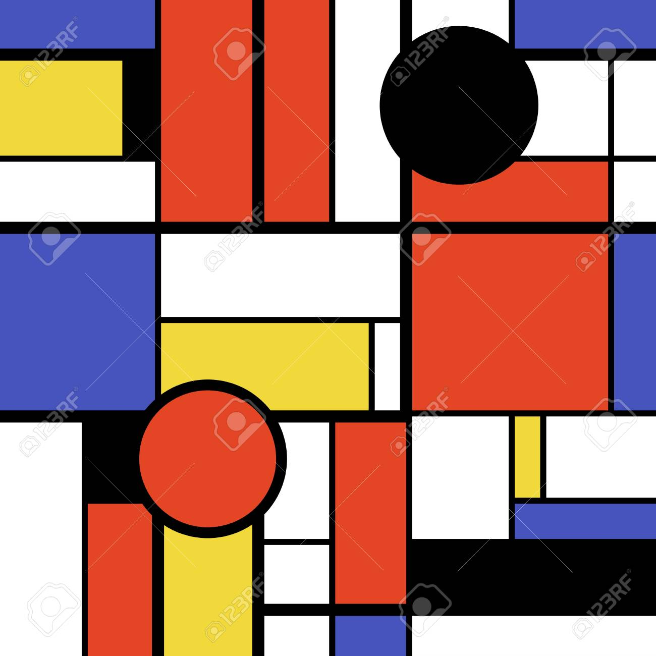 Modern Art Abstract Colorful Circles Squares And Rectangles