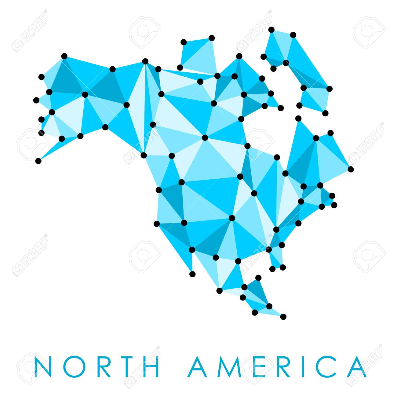 north america low poly map vector geometric style illustration