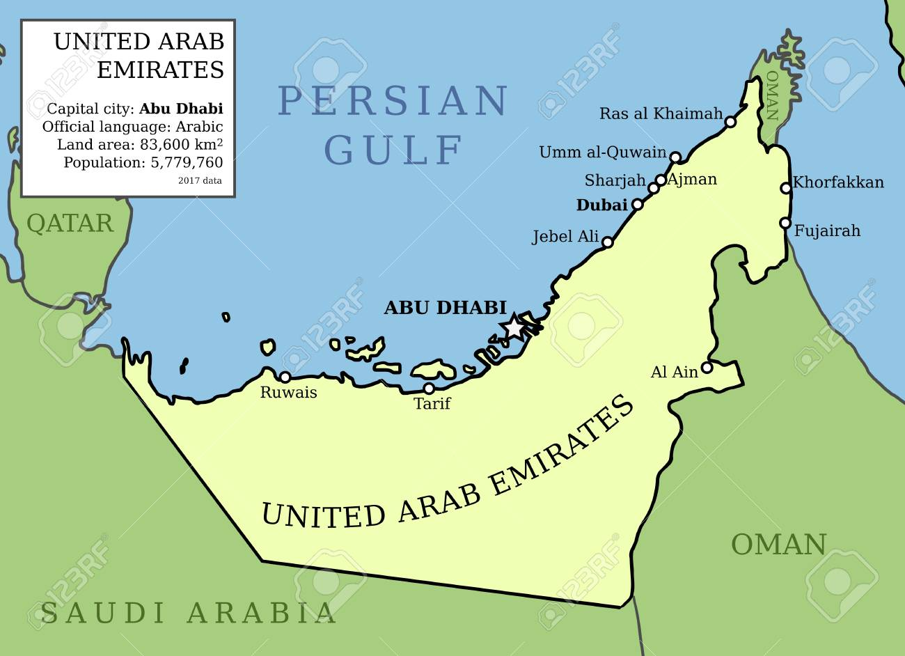 United Arab Emirates (UAE) map. Outline vector country map with..