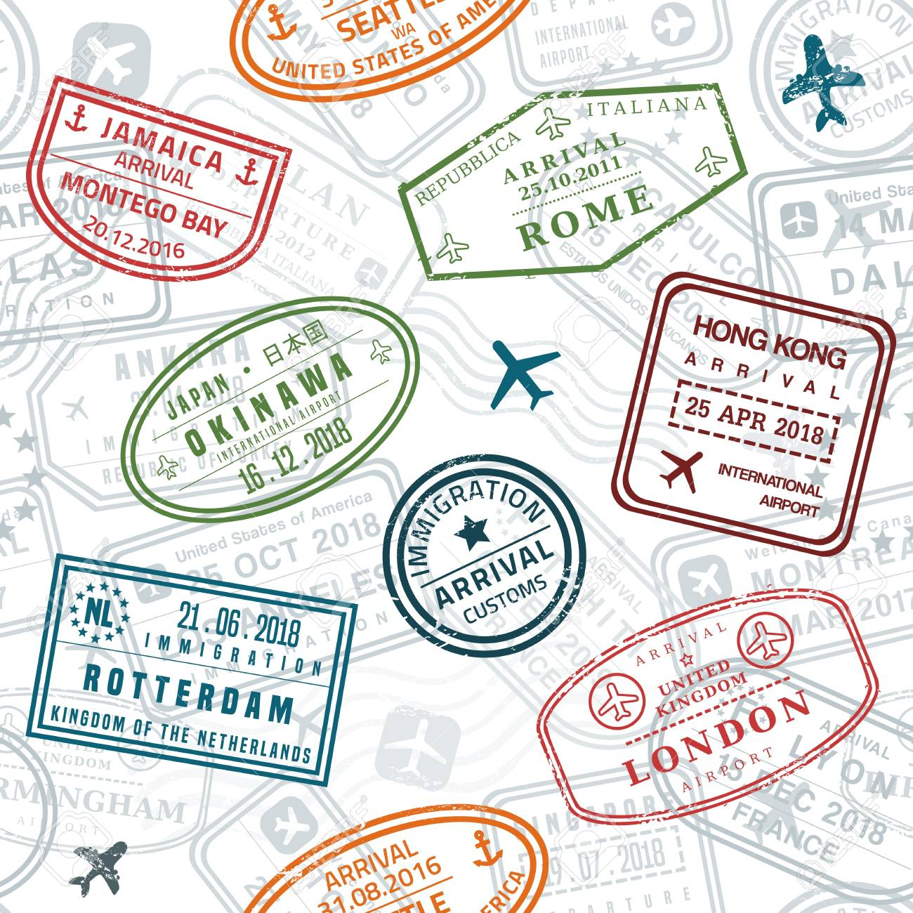 wanderlust background passport stamps royalty free cliparts