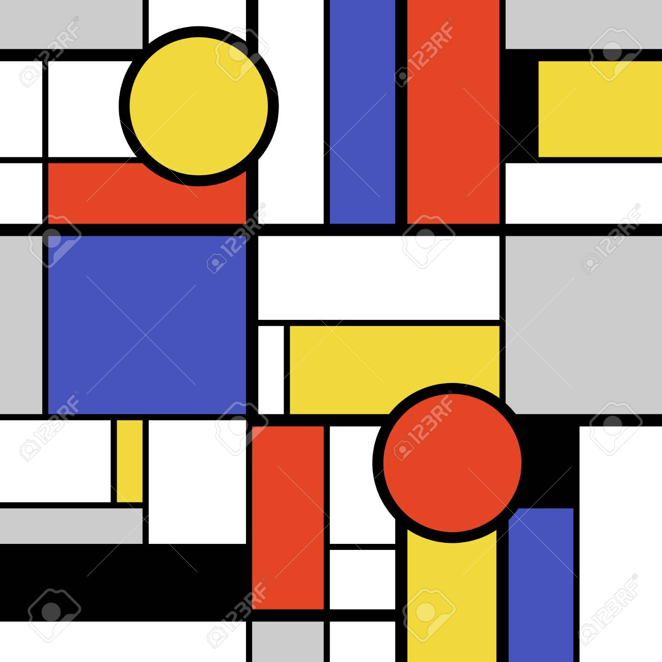 Bold Modern Art Abstract Colorful Circles Squares And Rectangles