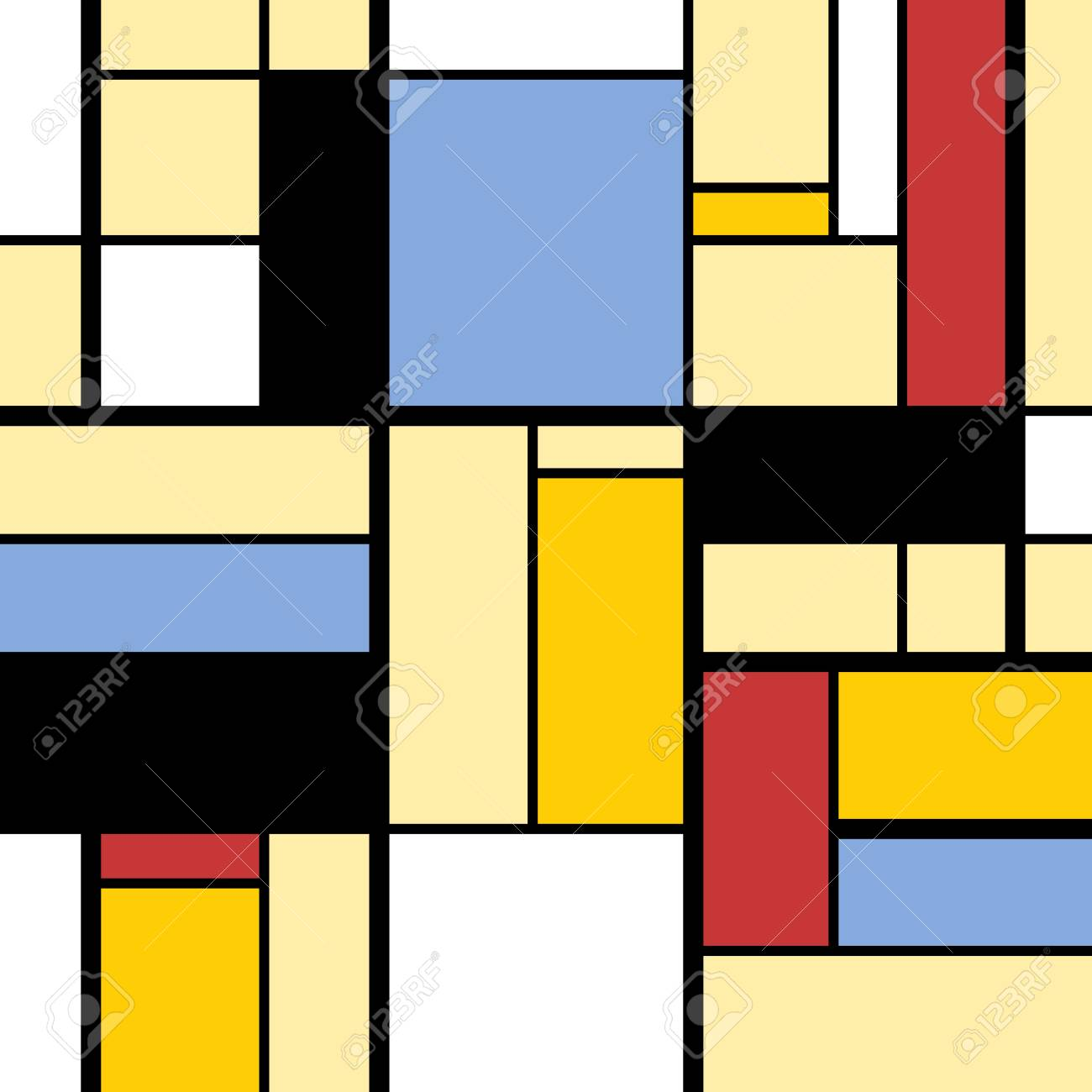 Simple Modern Art Abstract Colorful Squares And Rectangles