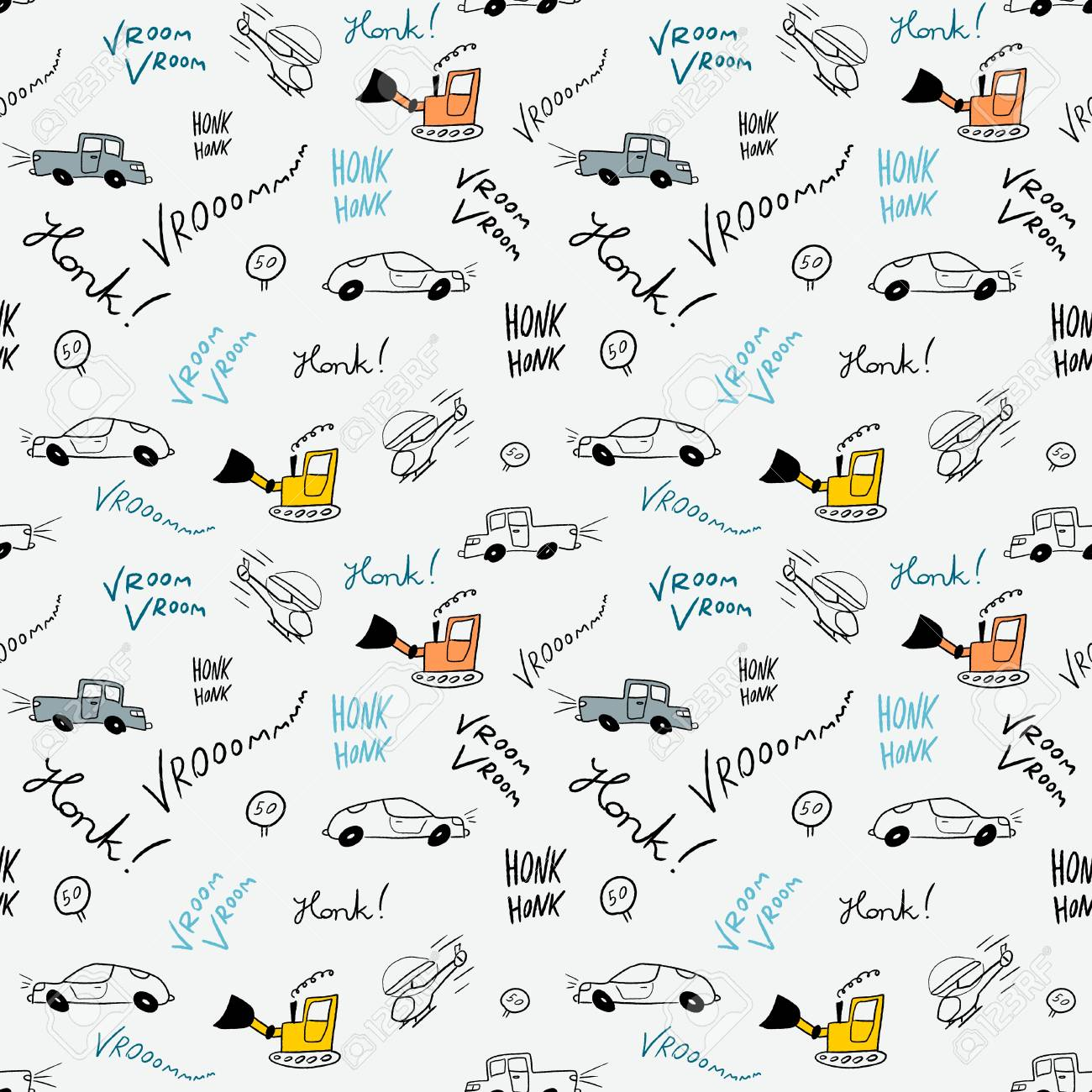Children Bedsheets Pattern   Hand Drawn Cartoon Cars And Helicopters Doodle  Texture. Stock Vector
