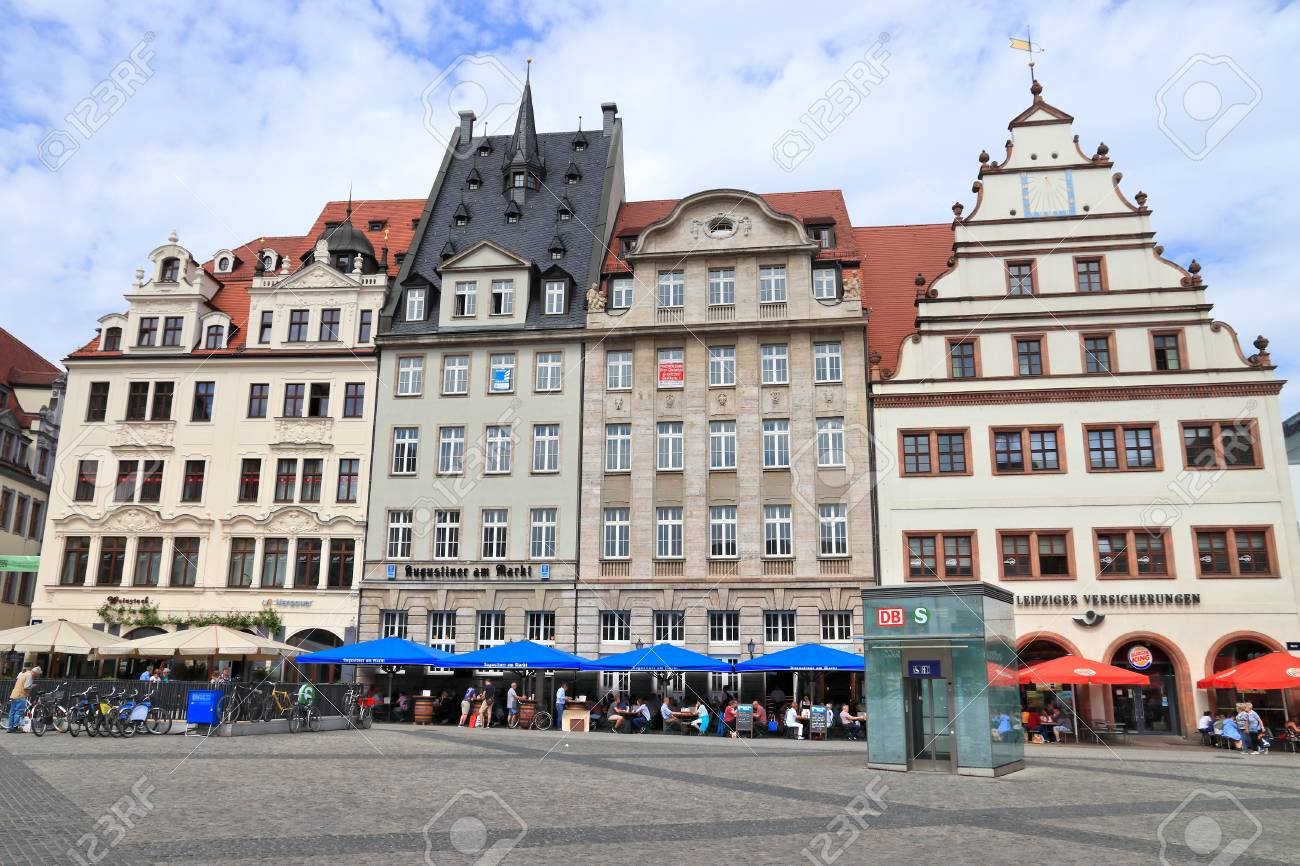 Leipzig Germany May 9 2018 People Visit Markt Square In Stock Photo Picture And Royalty Free Image Image 115574664