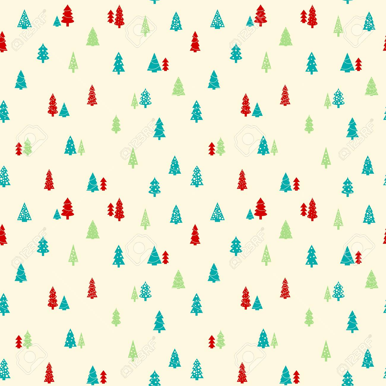 Christmas trees background , simple seamless vector texture