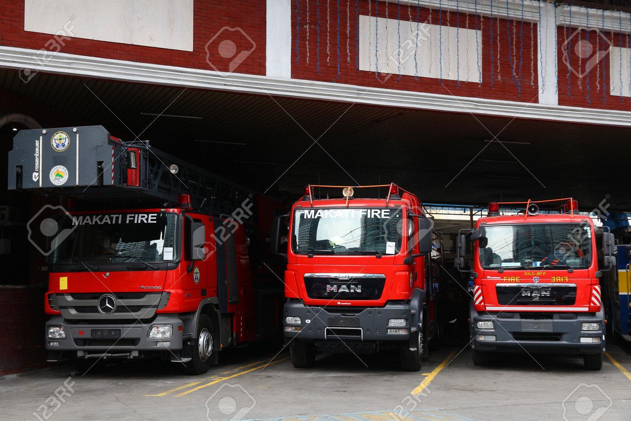 MANILA, PHILIPPINES - DECEMBER 7, 2017: Fire trucks of Makati