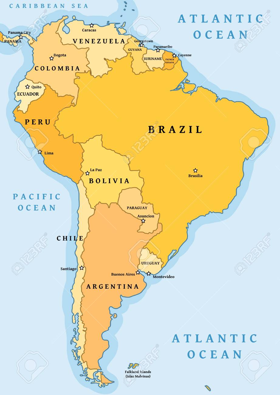 South America Political Division Map - Vector Illustration. Royalty ...