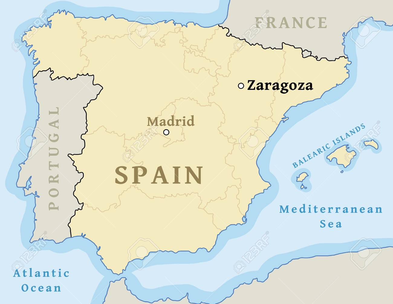 Map Of Spain Zaragoza.Zaragoza Map Location Find City On Map Of Spain Vector