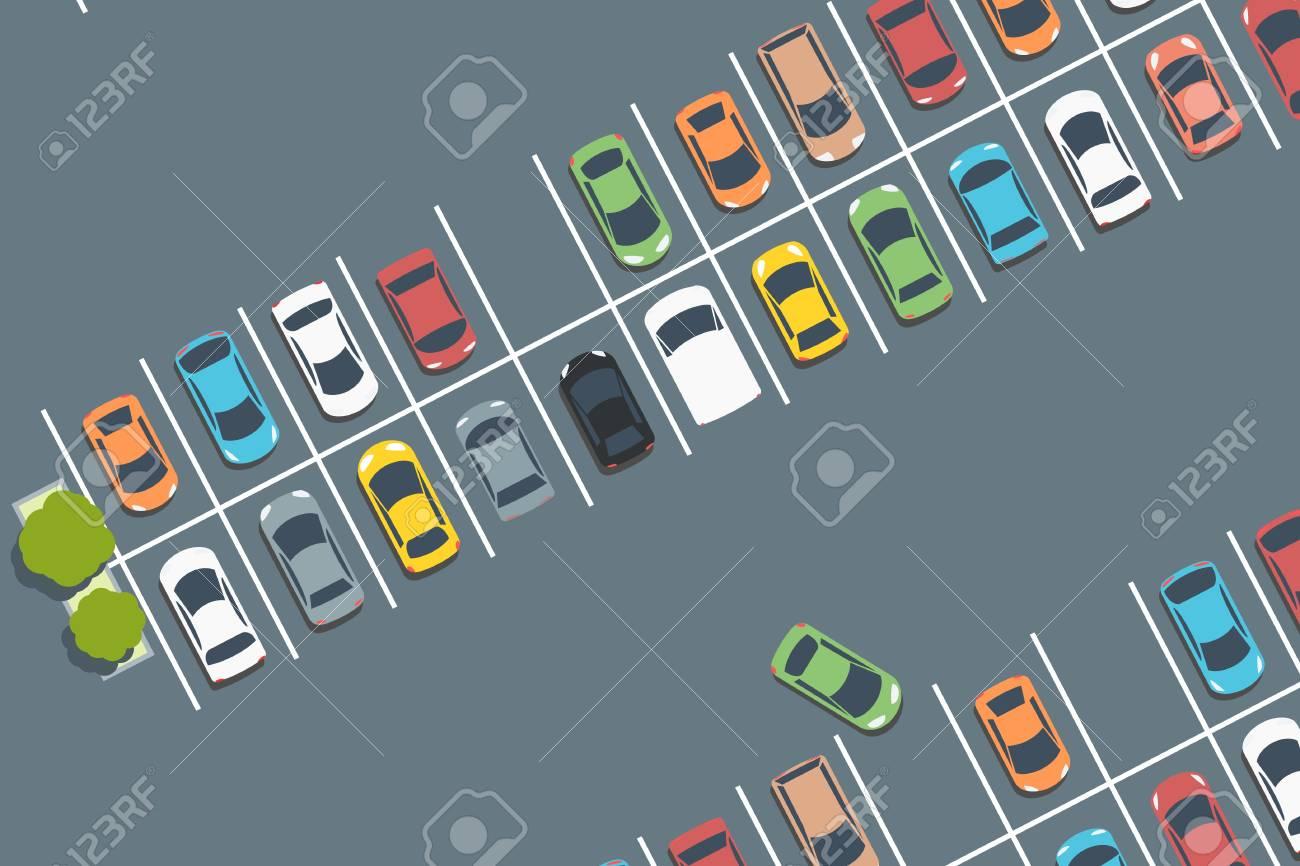 Mall car park. Vector parked cars. Simple illustration. - 119091311