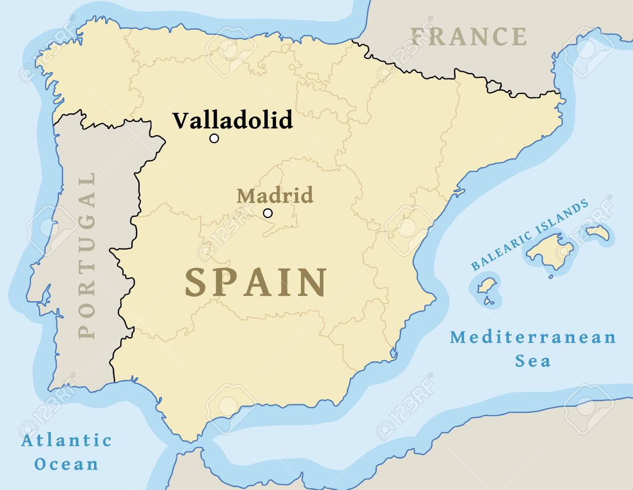 Map Of Spain Valladolid.Valladolid Map Location Locate City On Map Of Spain Vector