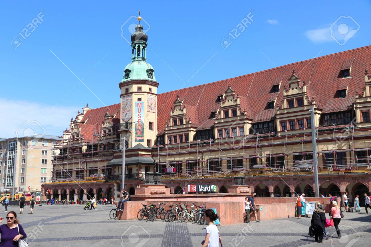 Leipzig Germany May 9 2018 People Visit Markt The Main Stock Photo Picture And Royalty Free Image Image 137611288