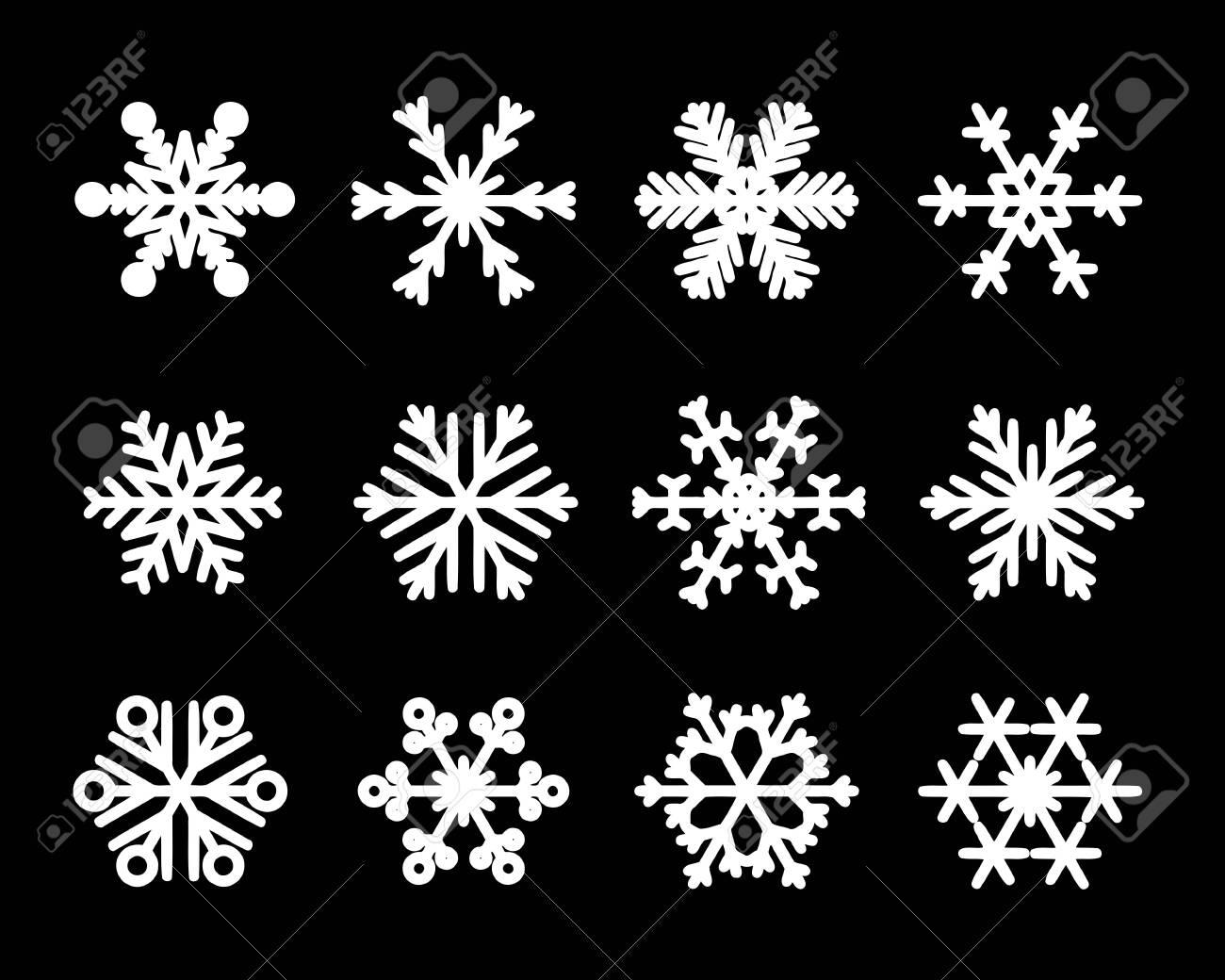 Vector isolated snowflakes. Christmas snow flake icon set. - 137800091