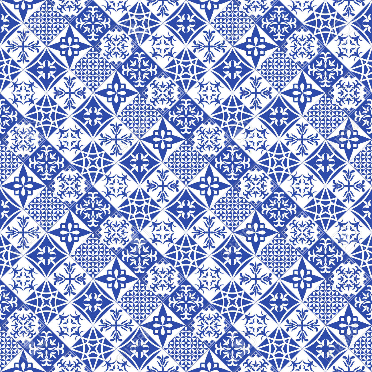 Portuguese style tiles background. Blue azulejos tiles from Portugal. - 169687753