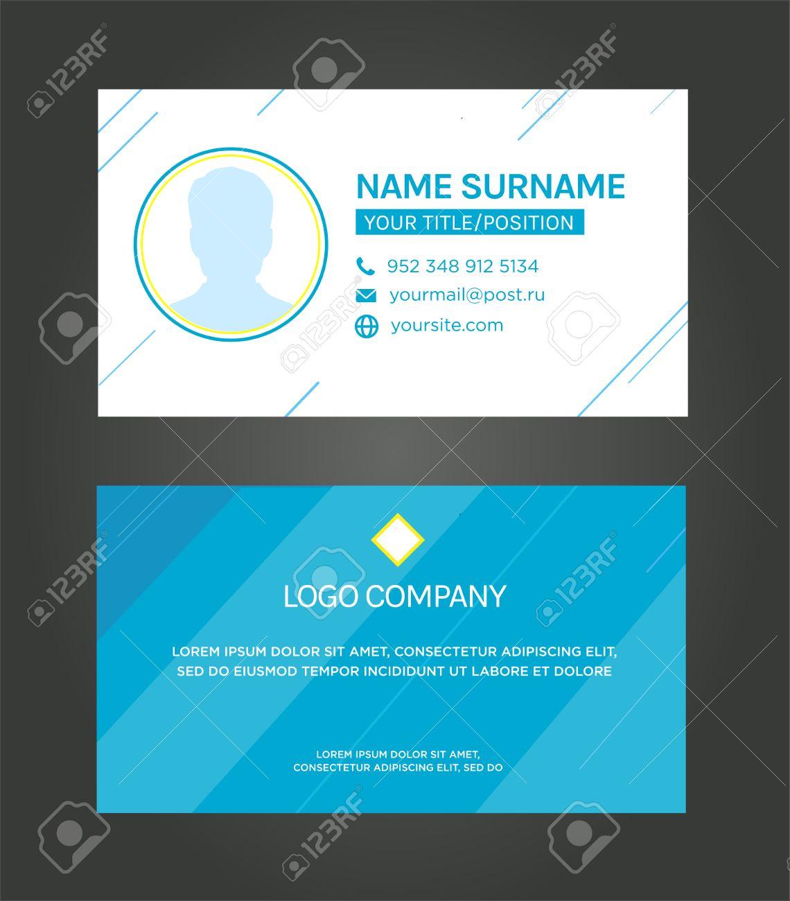 Business Card Template, Blue Pattern Vector Design Editable ...