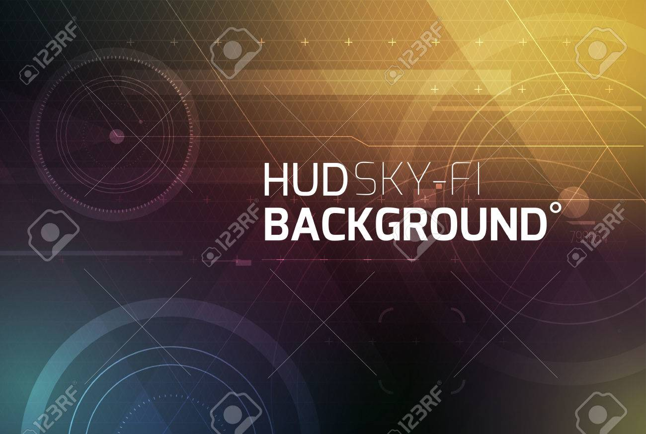 Cosmic HUD sci-fi interface vector abstract background. Science, disco, party. Print, video. Stock Vector - 42725523