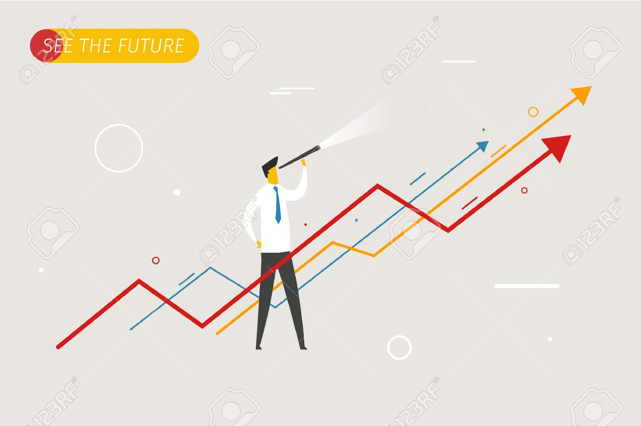 Businessman with telescope looking to the future. growth charts. Vector illustration Eps10 file. Success, growth rates - 44228347