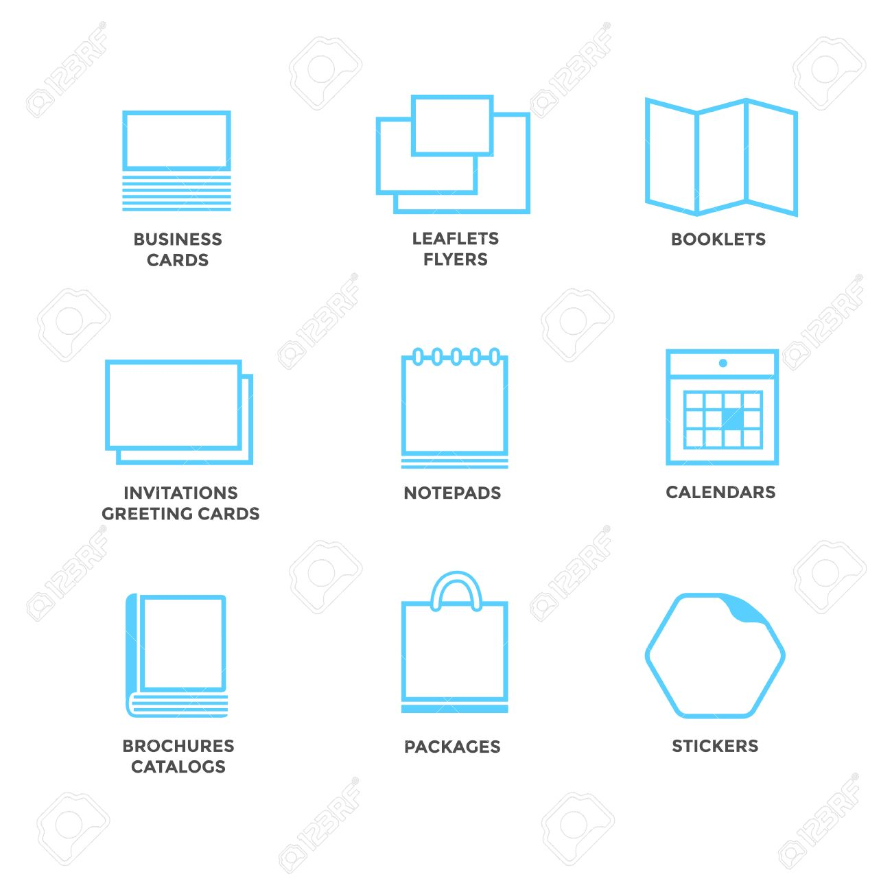 Icons of various print media size format business card flyers size format business card flyers calendars greeting cards m4hsunfo