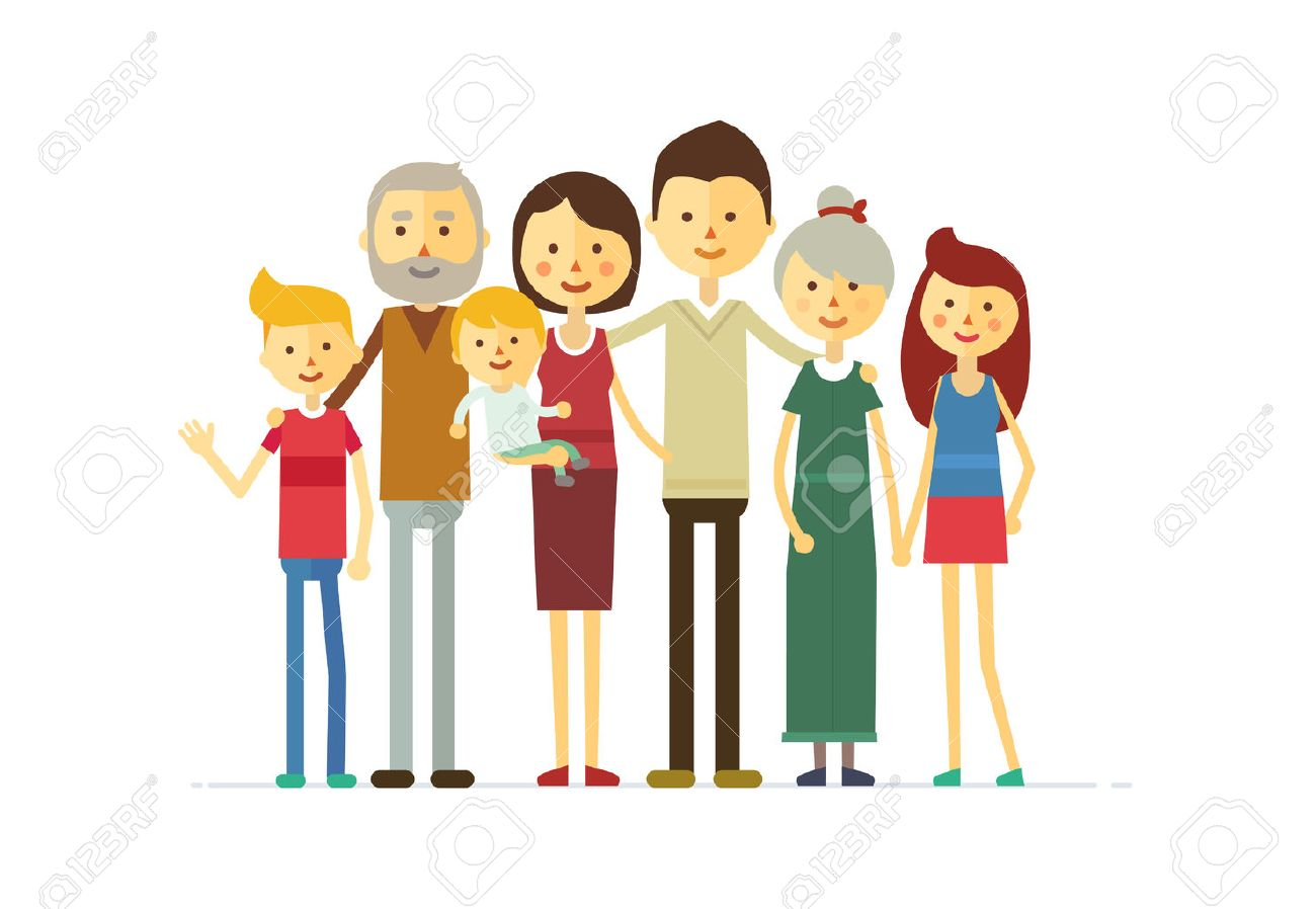 family portrait at the simple style. flat cartoon vector eps - 52853872