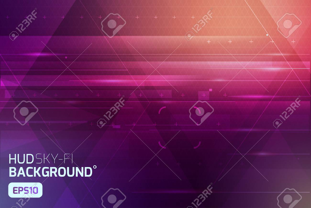 Cosmic HUD sci-fi interface abstract background. Science, disco, party. Print, video - 57623866