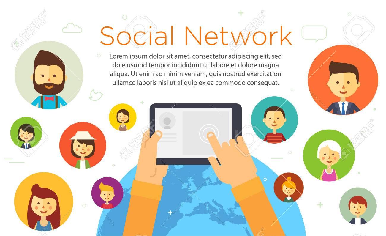 オンライン チャット ソーシャル ネットワーク世界中の人々イラスト