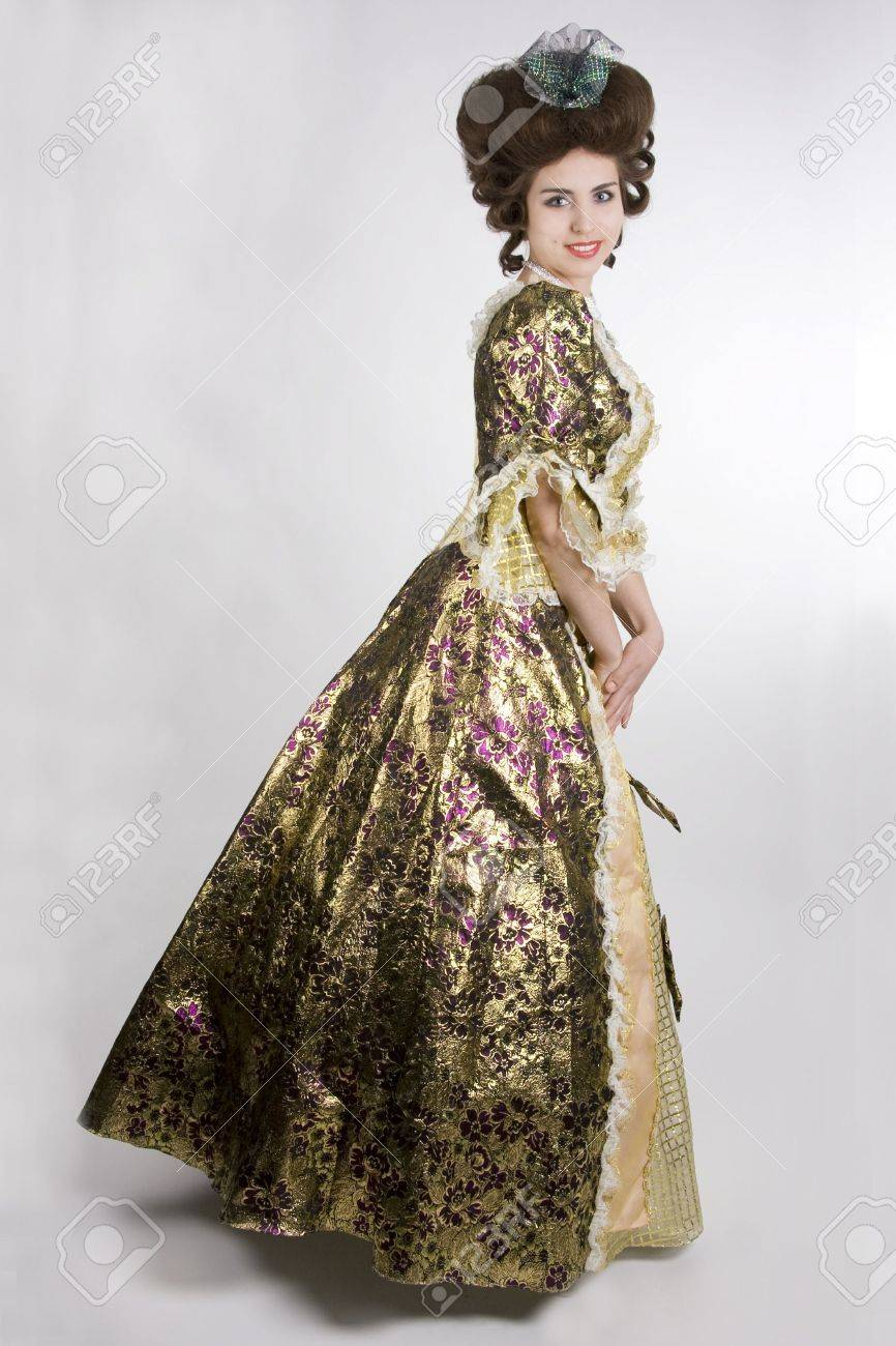 happy w in a th century dress smiling white background happy w in a 18th century dress smiling white background stock photo 3352692