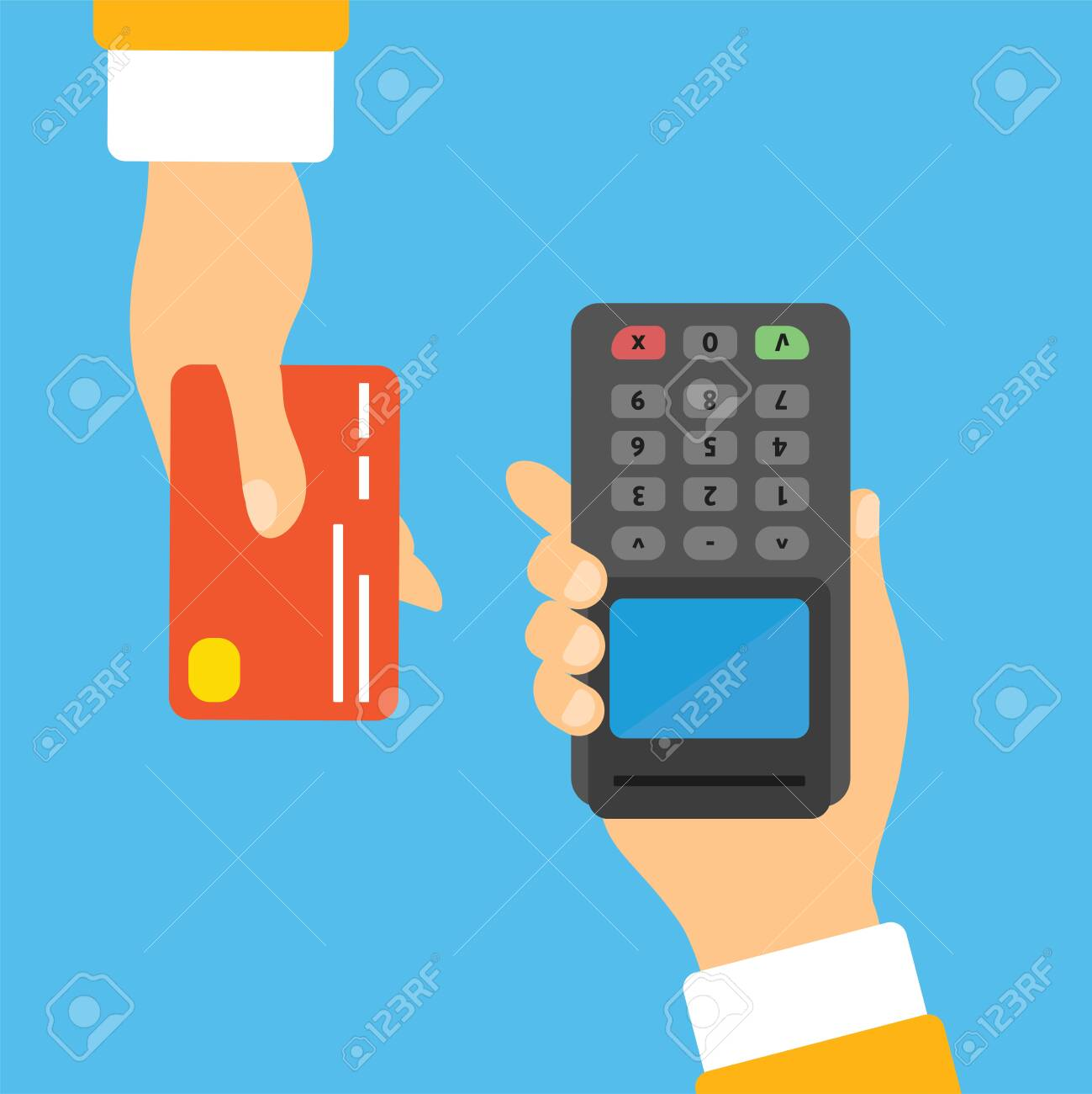 POS Terminal Confirms The Payment By Debit Credit Card