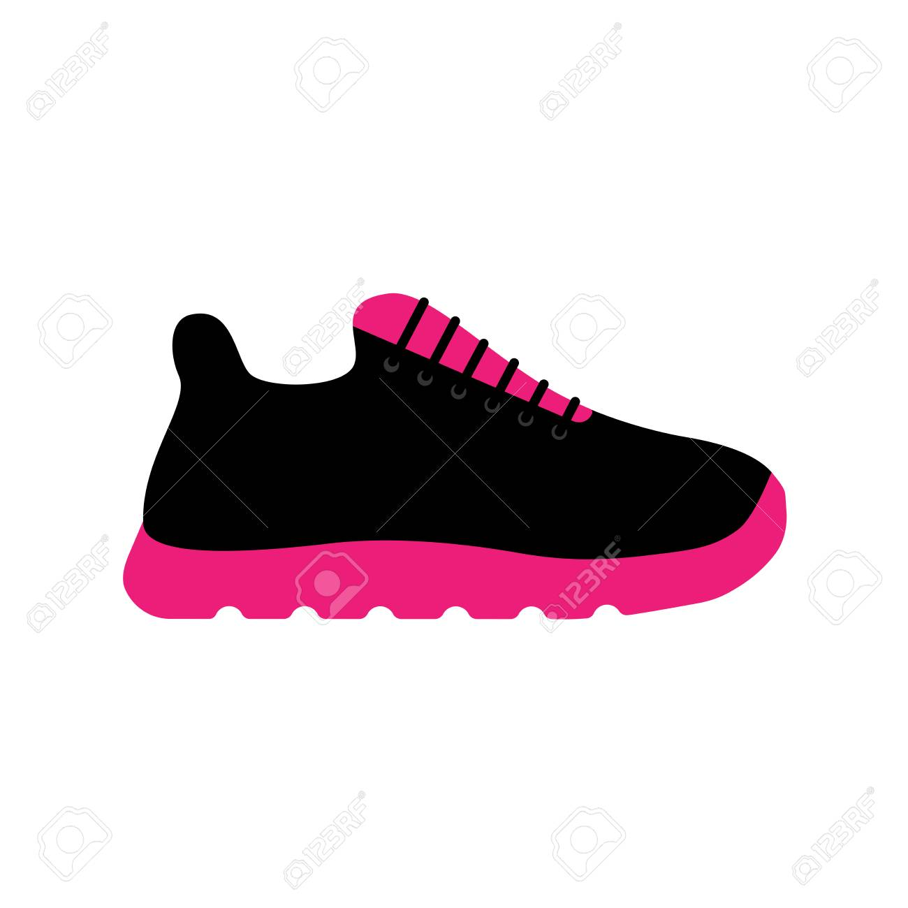 f7395c61fb0cf Vector - Vector illustration icon of sport running shoes for girl and women  (sneakers). Black and pink colors. White background