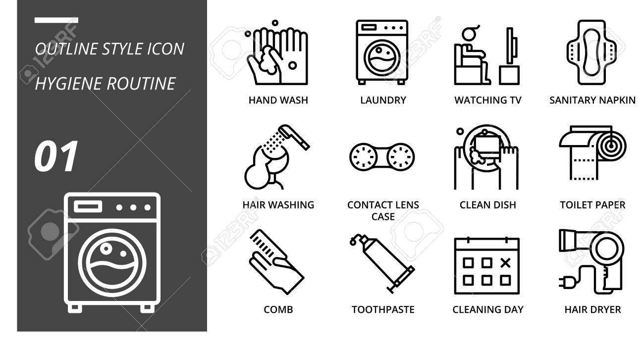 Outline Icon Pack For Hygiene Routine Hand Wash Laundry Watching