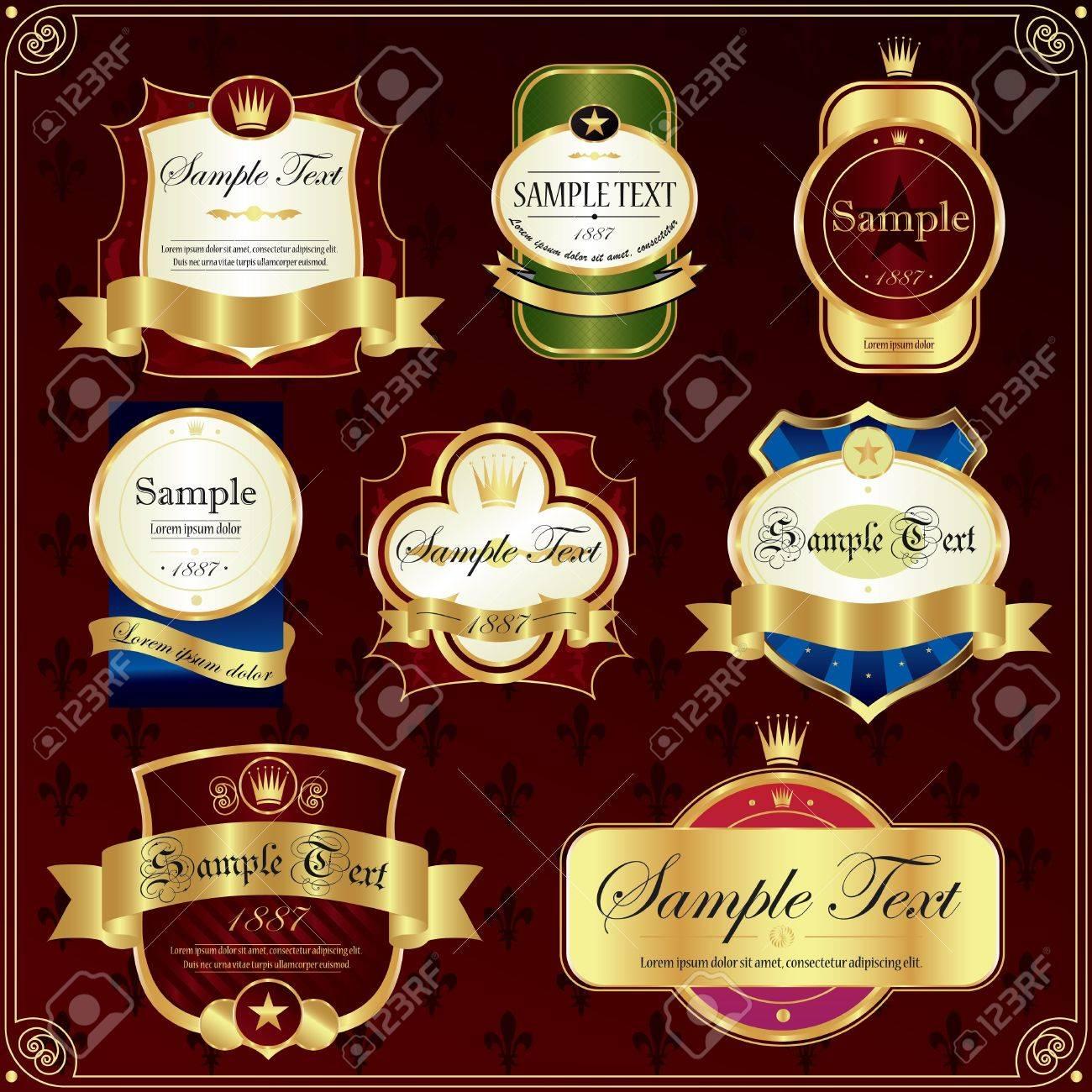Detailed ornate various colour label set. Stock Vector - 10605562
