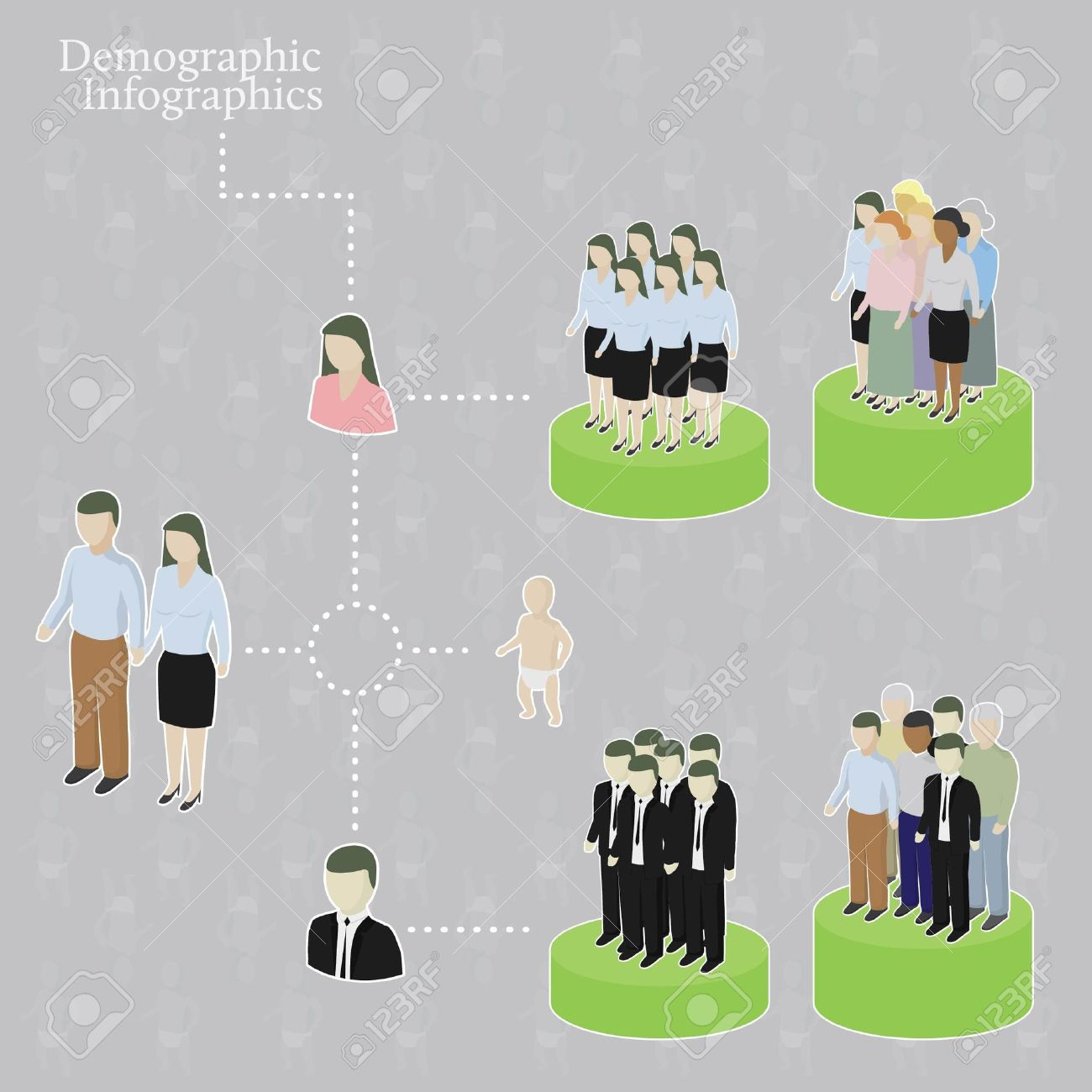 Demographic infographics. Variety of people. Stock Vector - 10605557