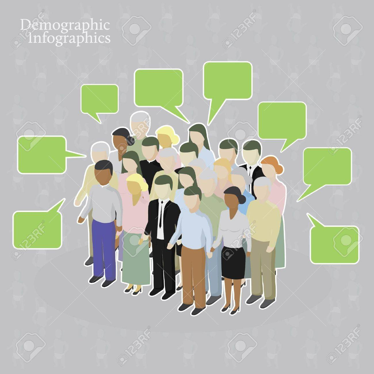 Demographic infographics. Crowd with speech bubbles - 10605555