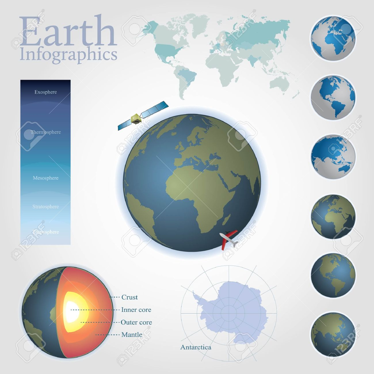 Earth infographics including editable world map separate countries earth infographics including editable world map separate countries antarctica map structure of gumiabroncs Gallery