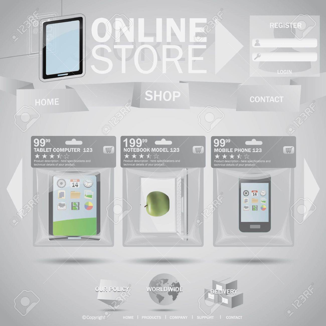 Online store web templane concept with plastic bags Stock Vector - 10605587
