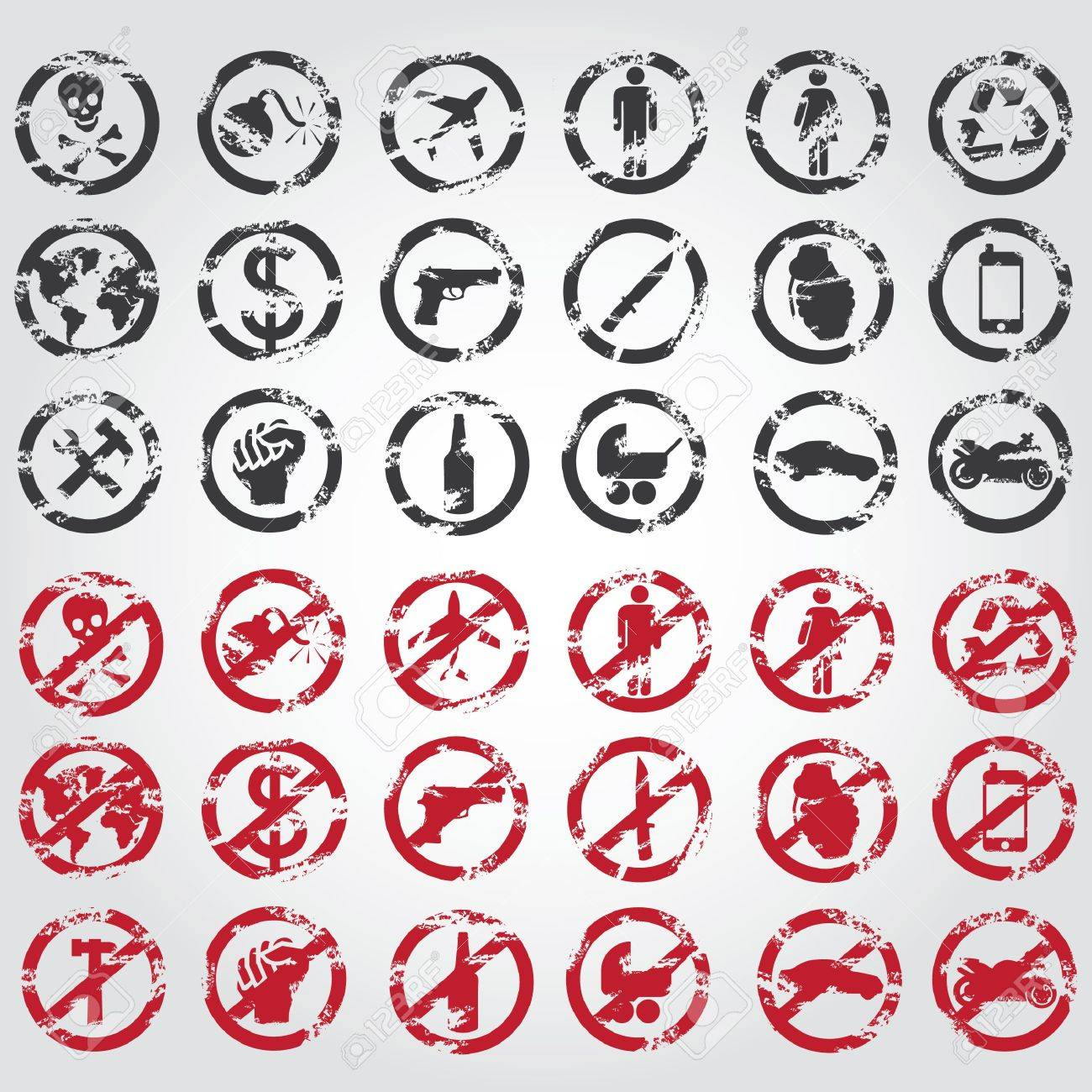 Grunge signs pack plus restrictive signs Stock Vector - 10605590