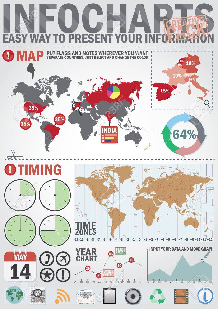 Infochart creative pack easy assembling elements for presentation infochart creative pack easy assembling elements for presentation and graph including world map gumiabroncs Image collections