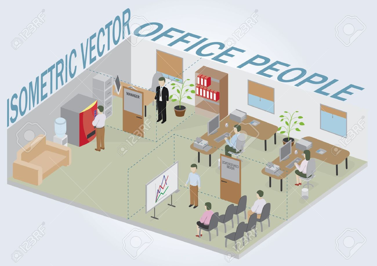 isometric office furniture vector collection. isometric office with people full pack of furniture including accessories all objects are editable vector collection i