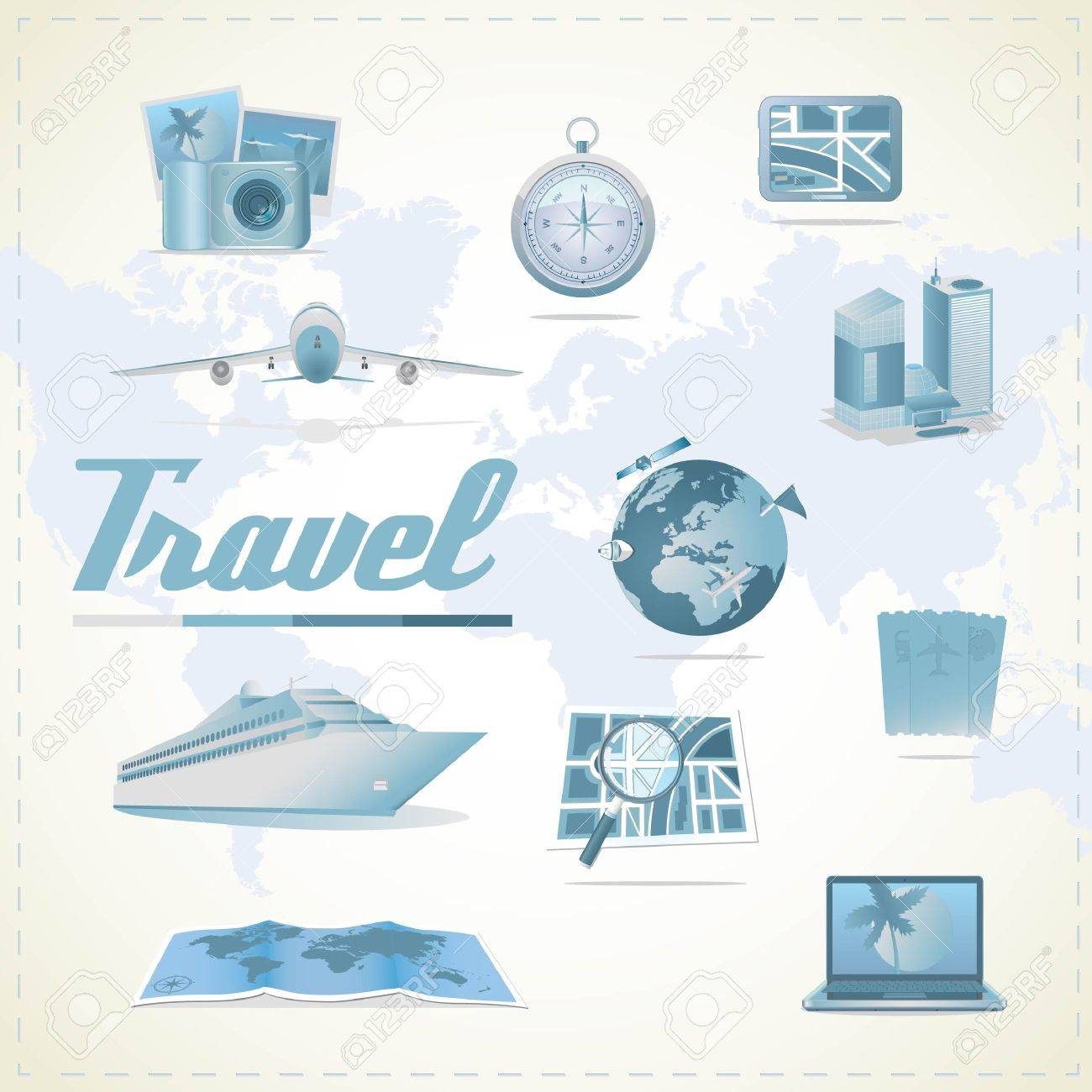 Travel icons. Different types of transportation, compass, maps, gps, notebook, camera, hotel. Stock Vector - 17310778