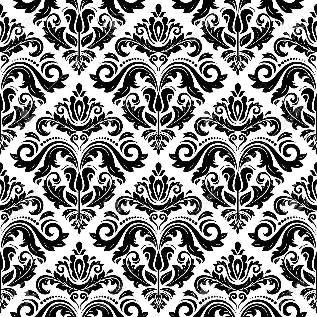 Banque d\u0027images , Motif de damassé Seamless texture abstraite vintage pour  arrière,plan dans le style baroque