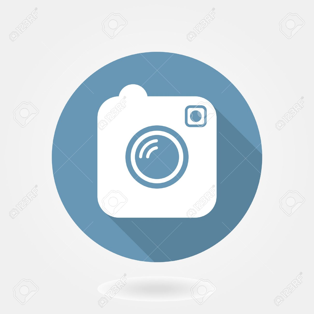 Camera like instagram icon with flat design  in blue circle with