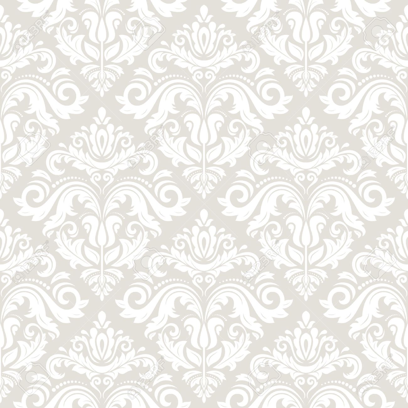 Wallpaper in the style of Baroque. Seamless vector background. Light damask floral pattern with orient and floral elements - 35318508