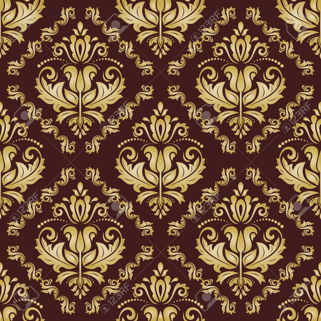 Banque Du0027images   Brun Bien Oriental Et Motif Doré. Papier Peint Classique  Seamless