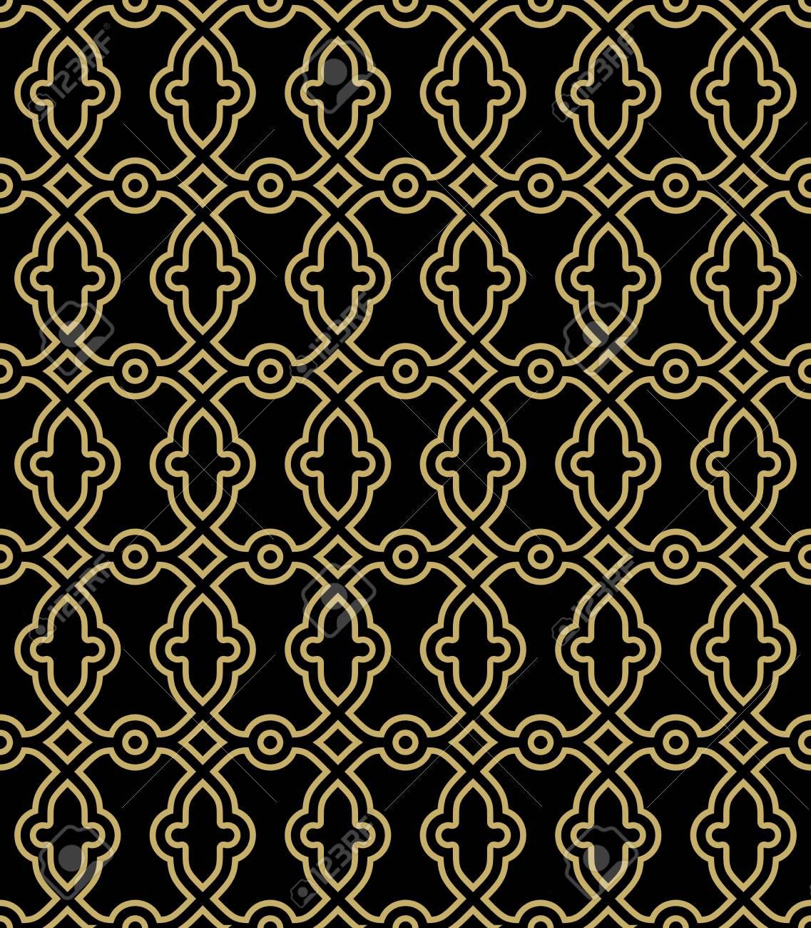 細かい幾何学模様 壁紙や背景のシームレスな黄金グリル の写真素材