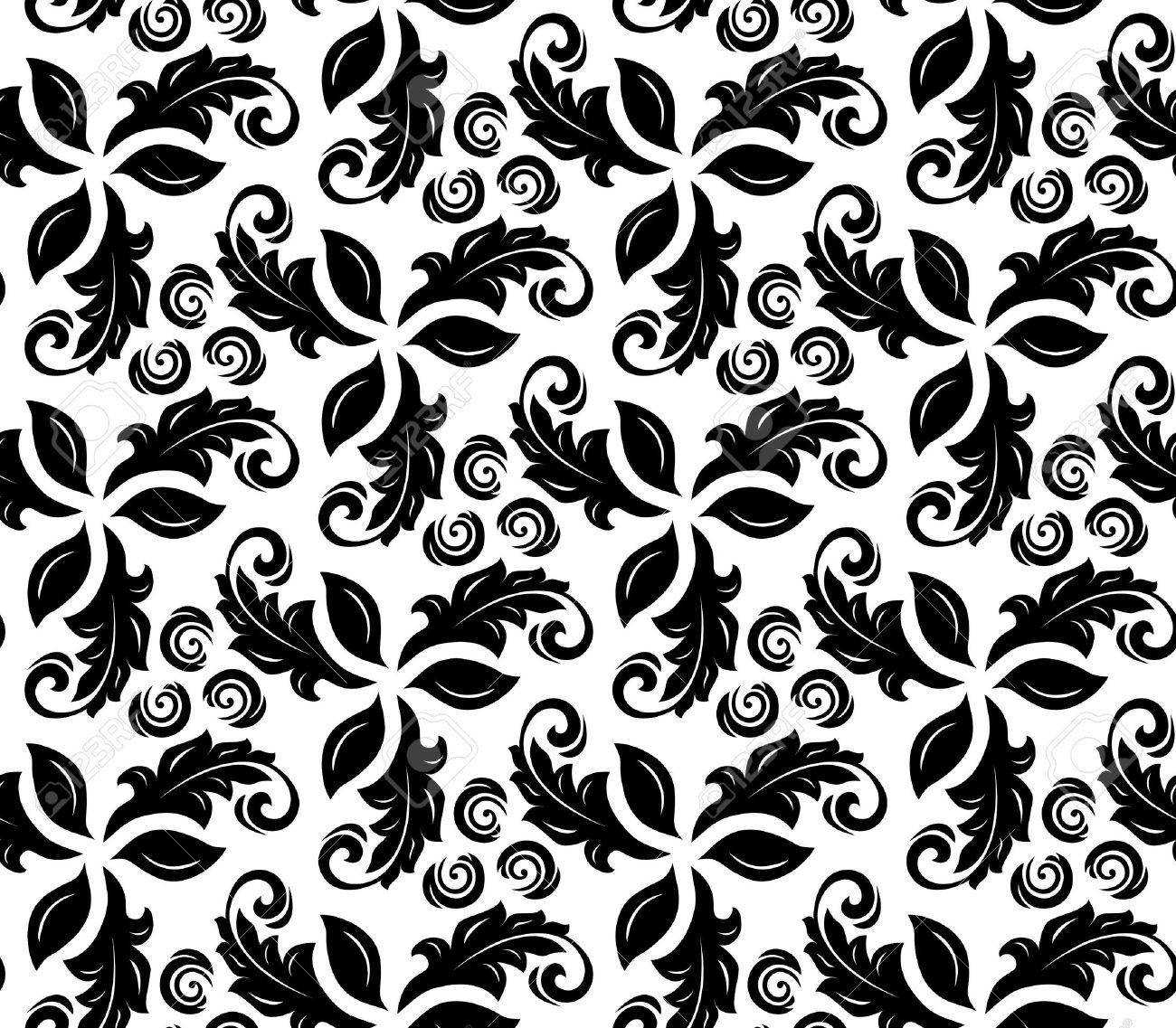 Floral Vector Black And White Ornament Seamless Abstract Background