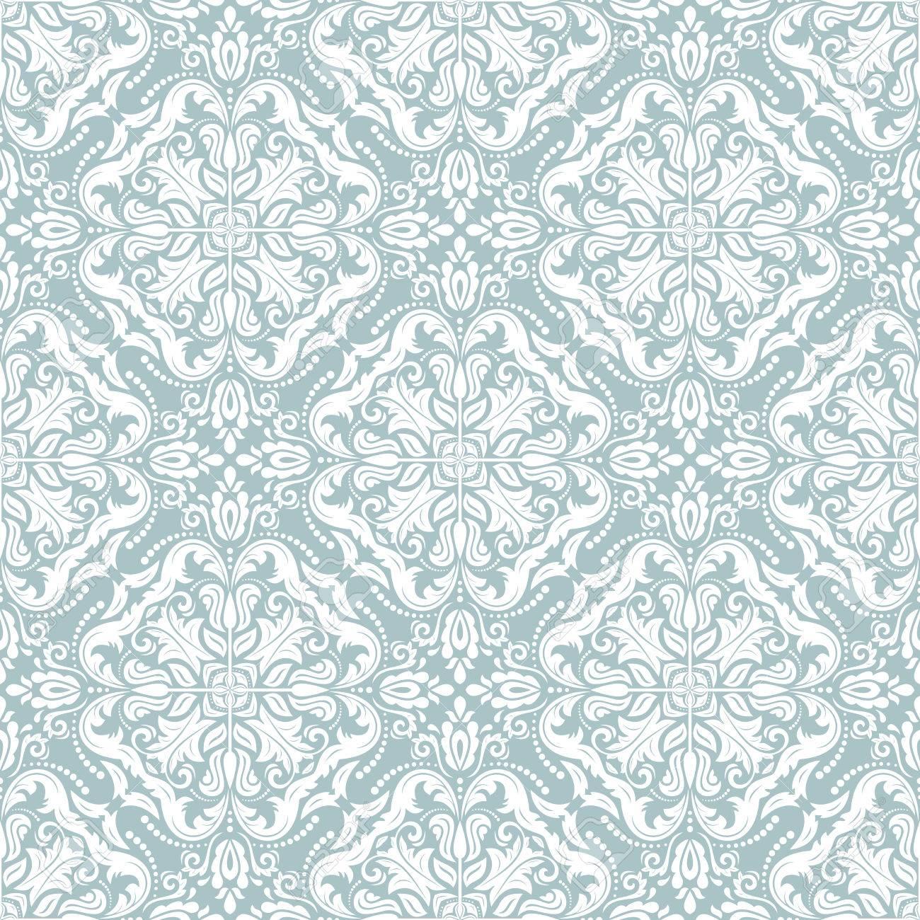 Vettoriale Damasco Ornamento Azzurro E Bianco Senza Soluzione Di