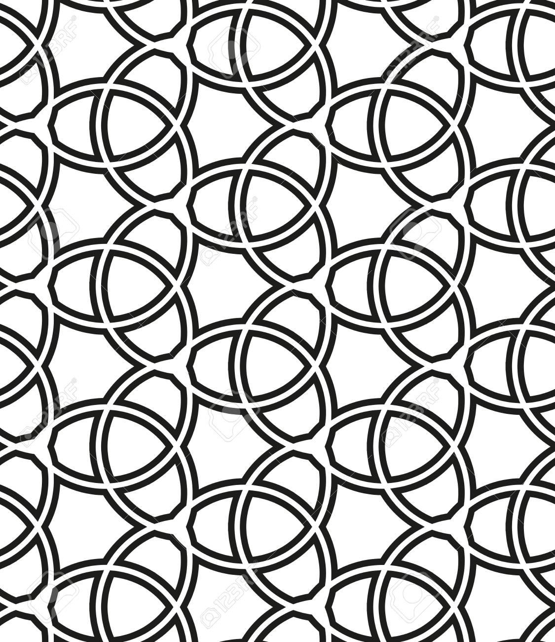 geometrischen ornament mit feinen elementen nahtlose schwarz wei muster fr tapeten und hintergrnde - Tapete Schwarz Wei Muster