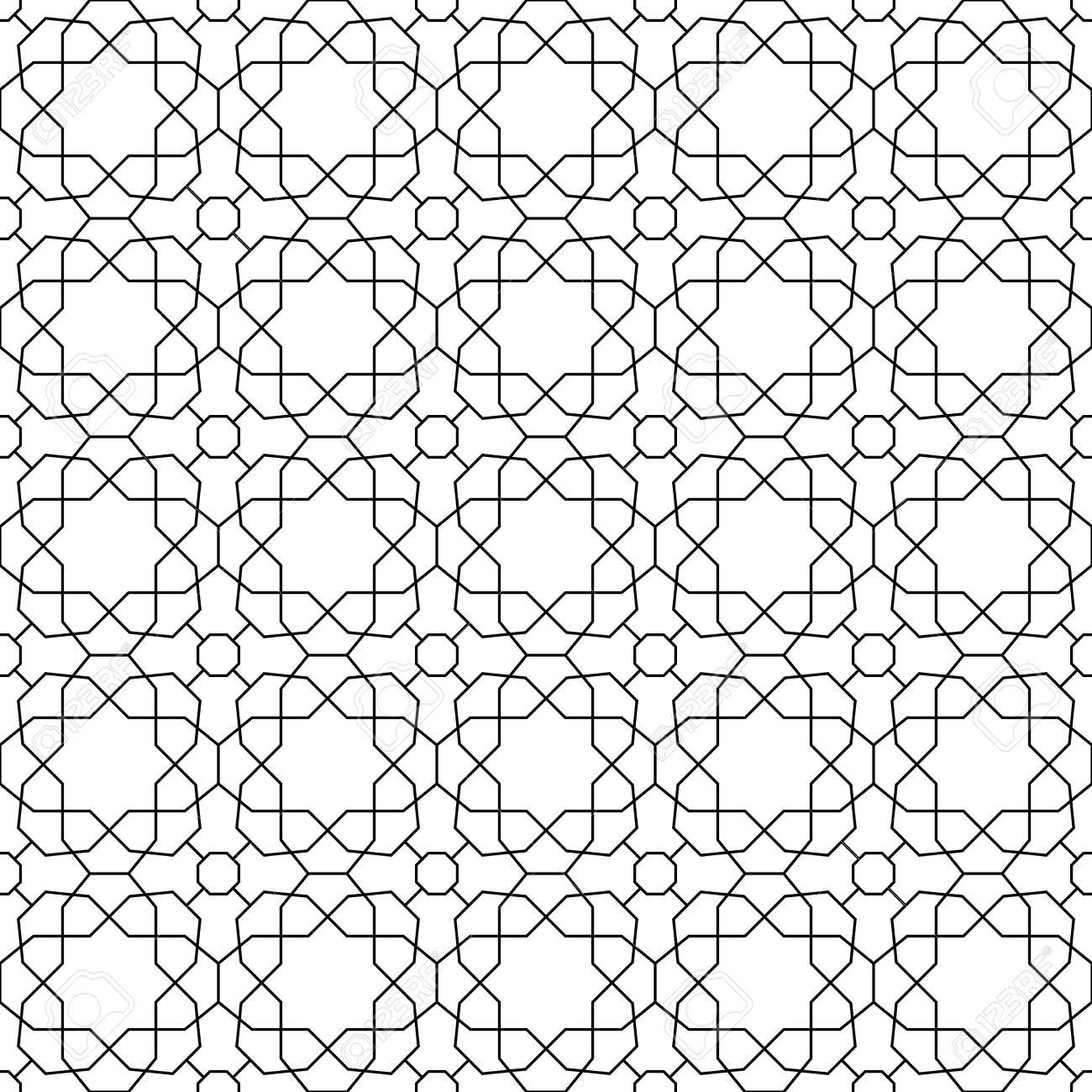 Ornement Géométrique Avec Des éléments Fins. Seamless Noir Et Blanc ...