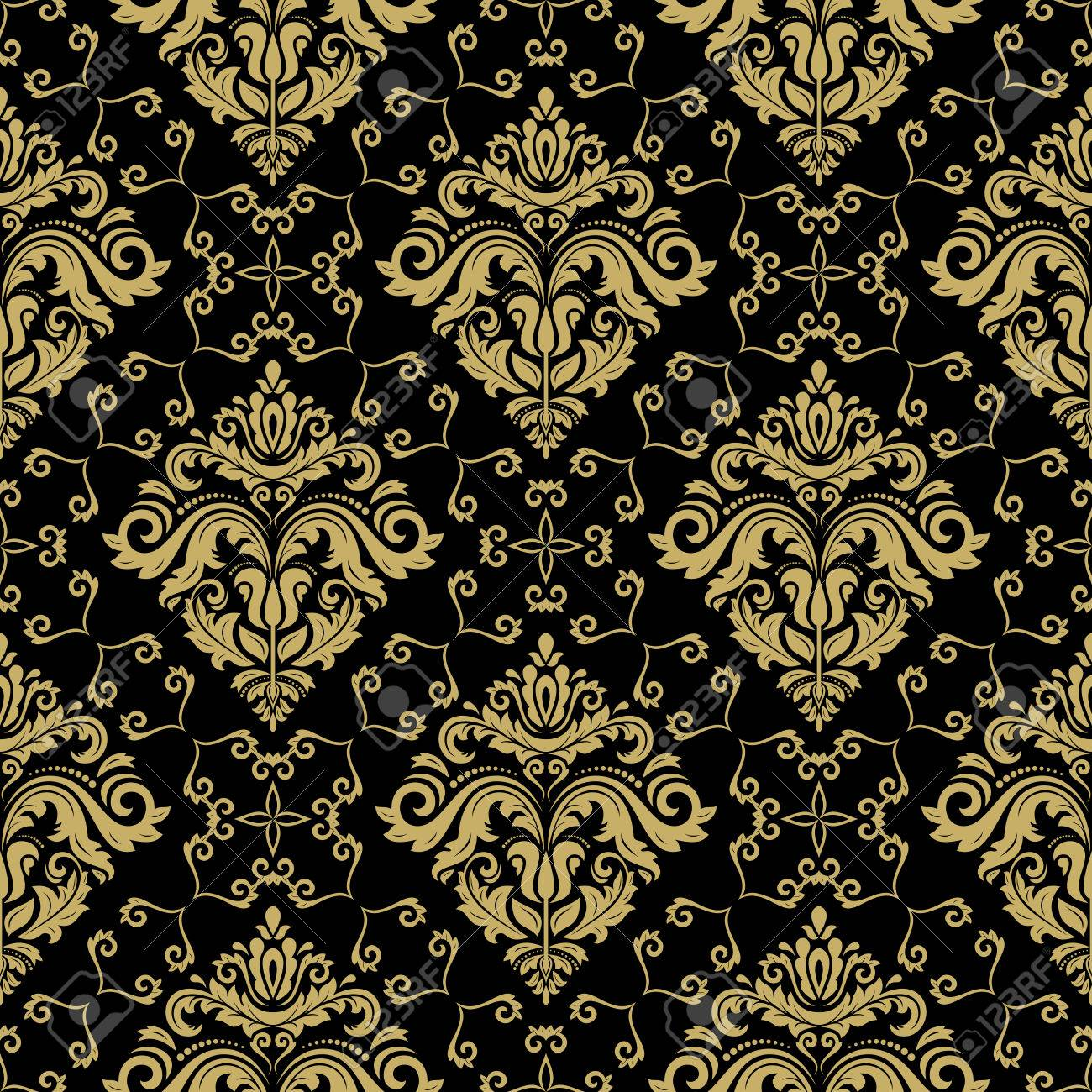 Carta Da Parati Stile Barocco.Immagini Stock Carta Da Parati Senza Soluzione Di Continuita In Stile Barocco Modello Tradizionale Sfondo Nero E Dorato Orientale Classic Image 58321318