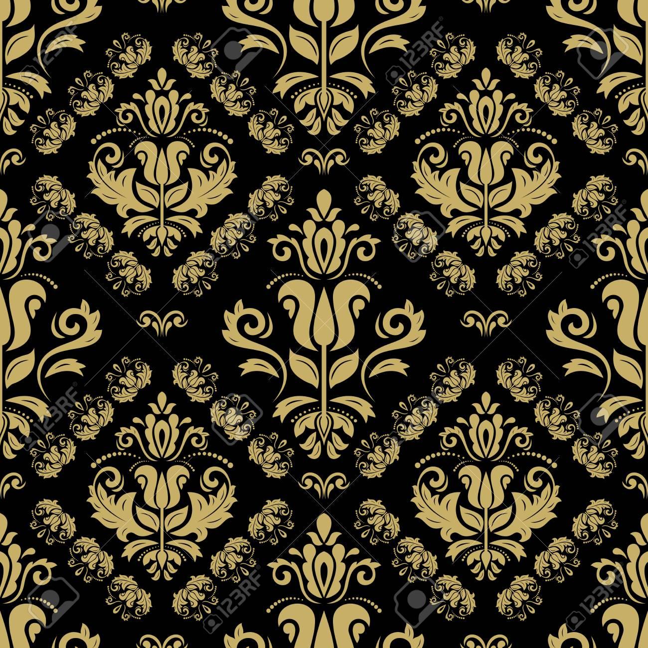 Banque Du0027images   Papier Peint Classique Orientale. Seamless Abstrait.  Motif Noir Et Doré
