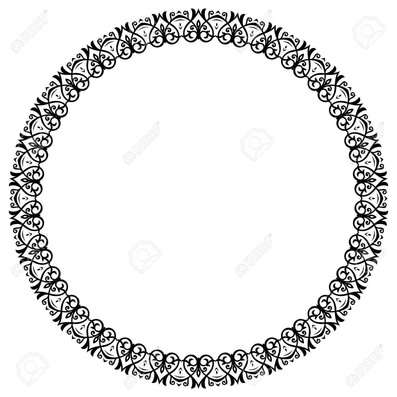 Oriental Vector Round Frame With Arabesques And Floral Elements ...